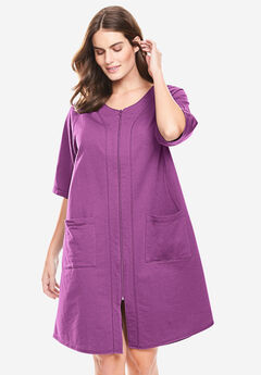 Short Sleeve French Terry Robe by Dreams & Co.®, RADIANT ORCHID