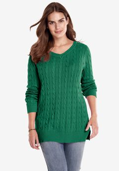 Cable Knit V-Neck Pullover Sweater, EMERALD