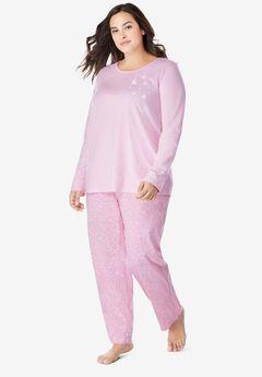 Long Sleeve Knit PJ Set by Dreams & Co.®, PINK STARS