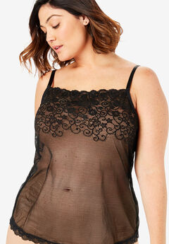 Sheer Lace Trim Camisole by Comfort Choice®, BLACK