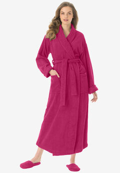 Long terry robe with FREE matching slippers by Dreams & Co®, CHERRY RED, hi-res