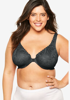 Front-Hook Stretch Lace Wonderwire® Bra from Glamorise®, BLACK