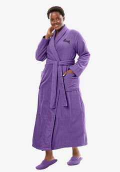 Personalized Long Terry Robe with FREE Slippers by Dreams & Co.®, VIOLET BLOOM, hi-res