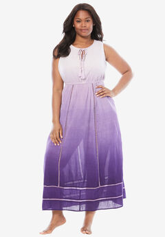 Sleeveless Fit-and-Flare Cotton Lounger by Only Necessities®, ROYAL GRAPE OMBRE, hi-res