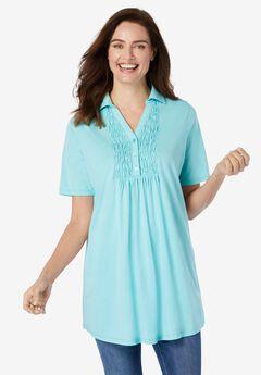 Smocked Bib Polo Shirt,
