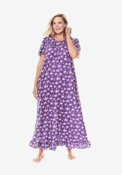 Long Floral Print Cotton Gown , PLUM BURST BOUQUET