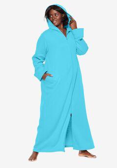 Hooded Fleece Robe by Dreams & Co.®, CARIBBEAN BLUE