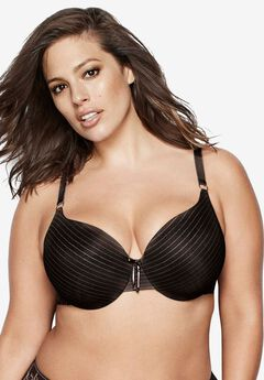 Icon Stripe Lace Bra by Ashley Graham®, BLACK