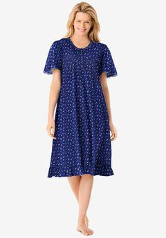 Short Floral Print Cotton Gown by Dreams & Co.®, EVENING BLUE FLOWERS