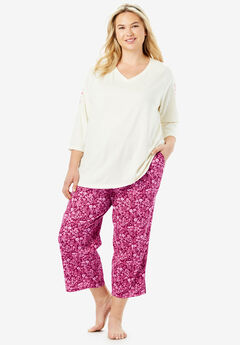 Print Capri PJ Set by Dreams & Co.®, POMEGRANATE FLORAL
