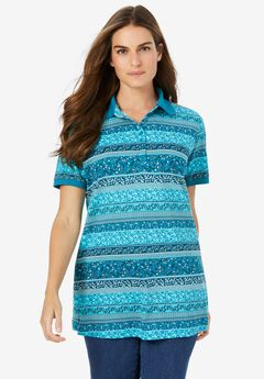 Perfect Printed Short-Sleeve Polo Shirt,