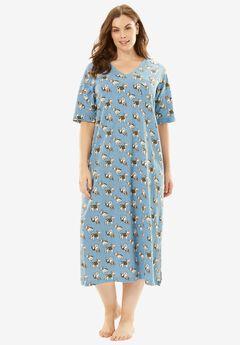 Long Print Sleepshirt by Dreams & Co®, FOUNTAIN BLUE DOGS, hi-res