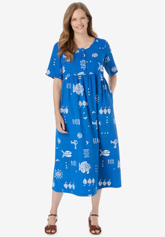 Stamped Empire Waist Dress,