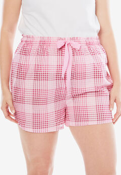 Cotton Print Pajama Short by Dreams & Co.®, PINK PLAID