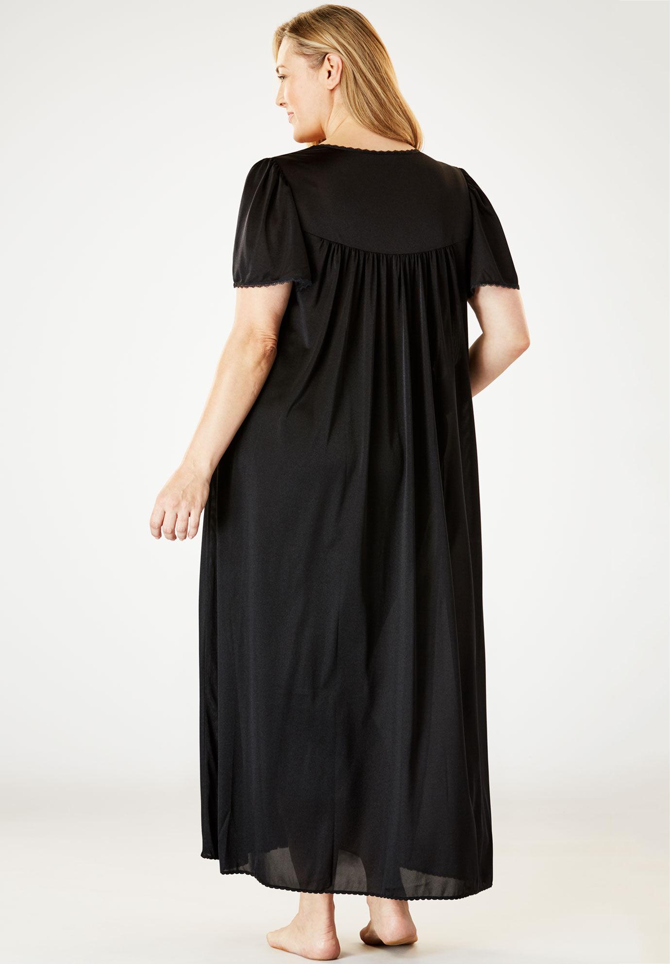 "Amoureuse BLACK Nightgown Robe  PEIGNOIR SET  42/"" Long  Sz 3X 56/"" BUST"