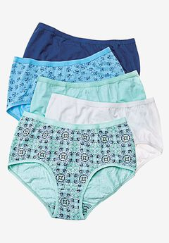 5-Pack Cotton Stretch Briefs by Comfort Choice®, CRYSTAL SEA FLORAL, hi-res