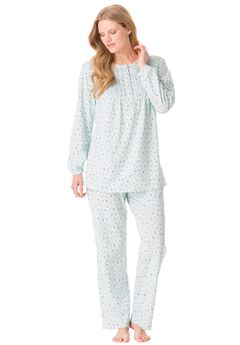 Cotton Knit Ruffled PJ Set by Only Necessities®, PASTEL TURQUOISE FLORAL, hi-res