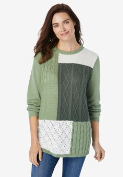 Patchwork Long-Sleeve Pullover Sweater,