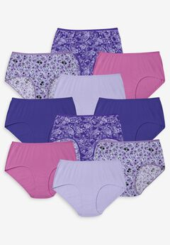 10-Pack Pure Cotton Full-Cut Brief , PURPLE PAISLEY PACK