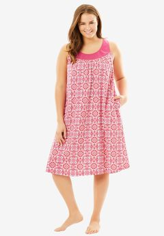 Sleeveless Cotton Sleepshirt by Dreams & Co.®, BERRY PINK TILE, hi-res