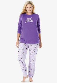 Fleece Sweatshirt Pajama Set ,