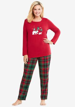 Long Sleeve Knit PJ Set by Dreams & Co.®, CLASSIC RED PLAID