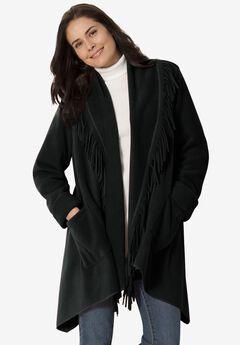 Fringed Shawl Collar Fleece Jacket,