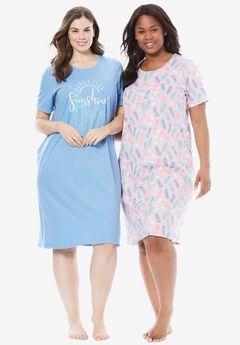 2-Pack Sleepshirt by Dreams & Co.®, FOUNTAIN BLUE BEACH