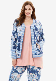 Kimono Bed Jacket by Dreams & Co.®, ROYAL NAVY FLORAL, hi-res