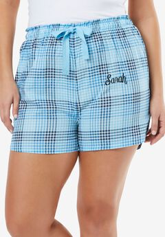 Woven print sleep shorts by Dreams & Co.®, CRYSTAL SEA PLAID, hi-res