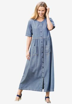 Short-Sleeve Denim Dress,