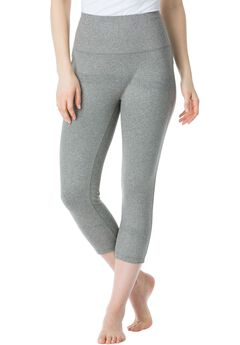 Perfect Shape capri shaping leggings by Secret Solutions® Curvewear, MEDIUM HEATHER GREY, hi-res
