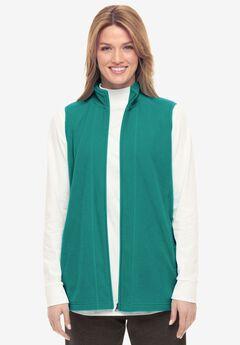 Zip-Front Microfleece Vest, BRILLIANT JADE