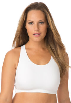 Leading Lady® Serena Low-Impact Wireless Active Bra 0514, WHITE