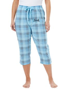 Printed Pajama Capris by Dreams & Co.®, CRYSTAL SEA PLAID, hi-res