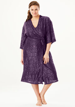 Touch of Lace Kimono Robe by Dreams & Co.®, RICH VIOLET, hi-res