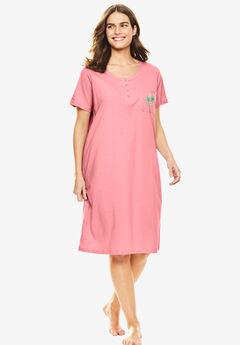 Cotton Sleepshirt, FLAMINGO PINK