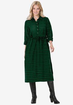 Plaid flannel A-line shirtdress, EMERALD PLAID