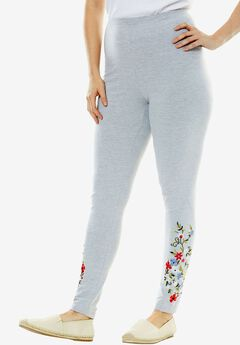Stretch Cotton Embroidered Legging, HEATHER GREY FLOWER EMBROIDERY, hi-res
