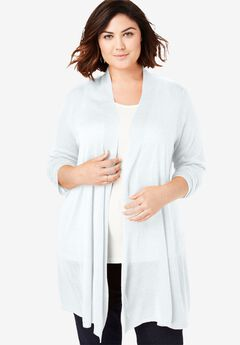 Lightweight Open Front Cardigan, WHITE