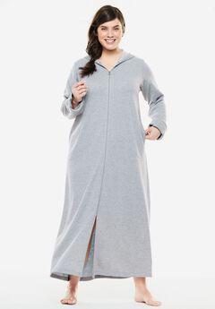 Long Fleece Hooded Robe by Dreams & Co.®, HEATHER GREY, hi-res