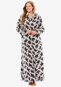Plush hooded long robe by Dreams & Co.®, HEATHER GREY POLAR BEARS, hi-res