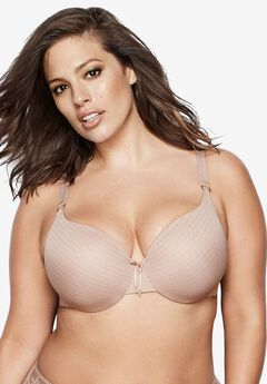 Icon Stripe Lace Bra by Ashley Graham®, CAPPUCCINO
