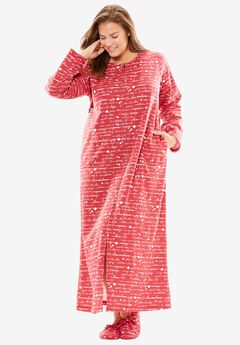 Fleece Robe with Free Slippers by Dreams & Co.®, CLASSIC RED SCRIPT, hi-res