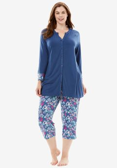 Downtime Henley PJ Set by Dreams & Co.®, MULTI FLORAL, hi-res