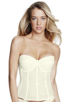 Embroidered Lace Torsolette, IVORY, hi-res