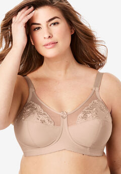 Elila® Embroidered Wireless Bra #1301, NUDE