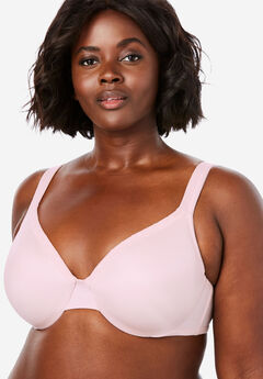 Lace Trim Microfiber Underwire T-Shirt Bra by Comfort Choice®, SHELL PINK