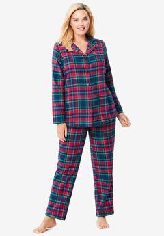 Classic Flannel Pajama Set by Dreams & Co.®, EVENING BLUE PLAID