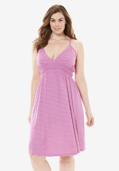 Stripe V-Neck Chemise with Mesh Back by Dreams & Co.®, ORCHID PINK STRIPE